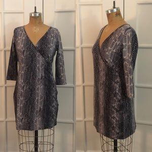 EUC Express Gray python print 3/4 sleeve dress Med